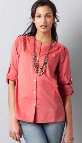 Roll Sleeve Button Front Shirt