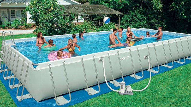 "Intex 32ft X16ft X 52"" rectangular frame pool"