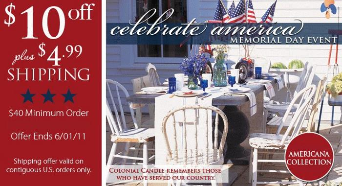 colonial candle memorial day event