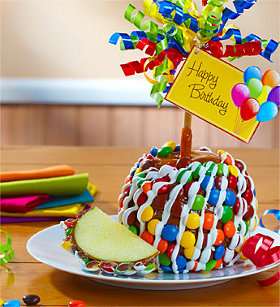 Happy Birthday Caramel Apple with Candies