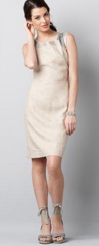 Embellished Linen Sheath