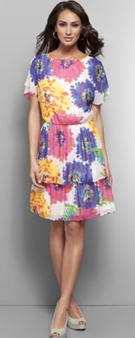 Short Sleeve Floral Chiffon Tiered Dress