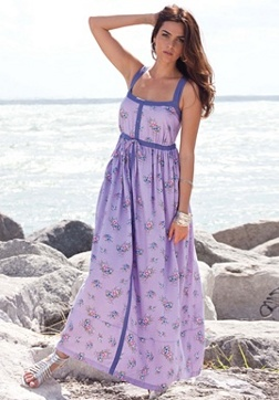 Floral Print Empire Waist Maxi Dress