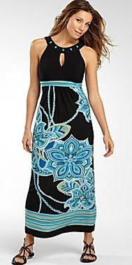 Beaded Neckline Empire Waist Maxi Dress