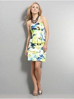 Strapless Tiered Satiny Cocktail Dress