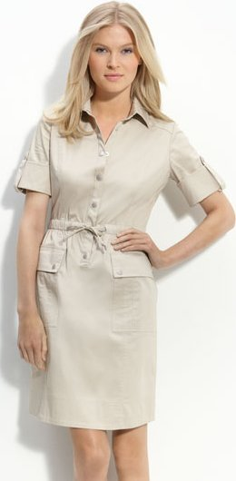 Calvin Klein Drawstring Waist Stretch Cotton Shirtdress