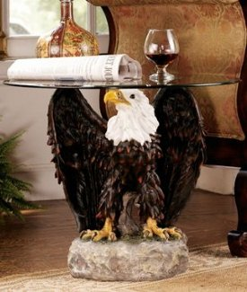 On Eagles Wings Glass-Topped Sculptural Table
