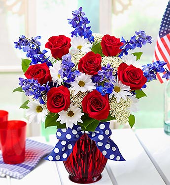 Save on july 4th flowers at online for Red white blue flower arrangements