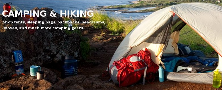 camping and hiking gears