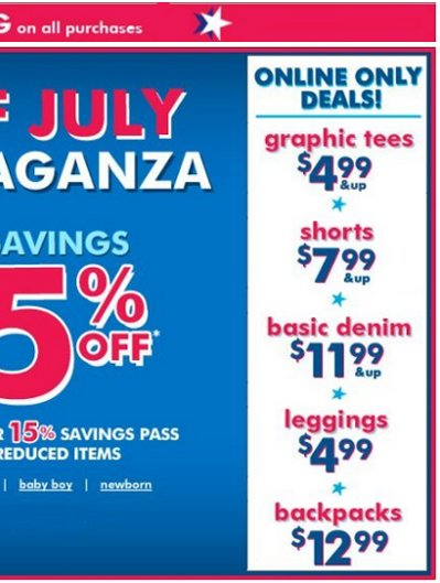 children's place july 4th offer