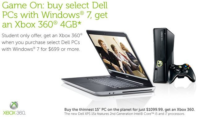 Free Xbox 360 4GB with select Dell PCs