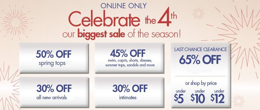 fashion bug 4th of july sale