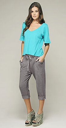 french terry heathered rolled pant