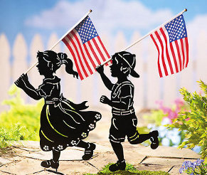 Patriotic Shadow Kids Metal Yard Decorations