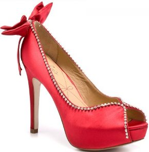 red high heel party shoes