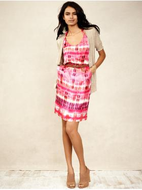 Silk ikat twist-strap dress