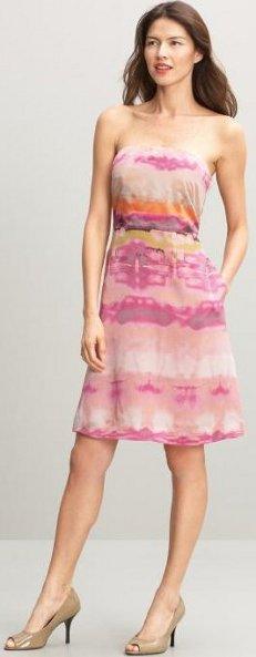 Silk strapless print dress