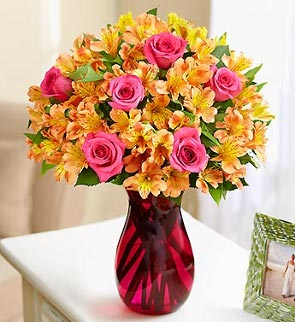 Summer Rose and Alstro Bouquet