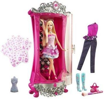 BARBIE A FASHION FAIRYTALE GLITTERIZER Wardrobe and BARBIE Doll Playset