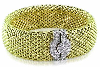 Diamond Bracelet In 14K Yellow & White Gold