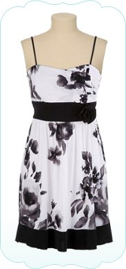 Floral Skinny Strap Dress with Rosette