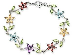 Multi-Gemstone Sterling Silver Flower Bracelet