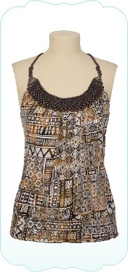 Printed Tank with Beaded Halter