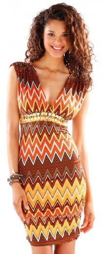 Zig Zag V-neck Dress