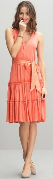Tiered belted knit dress