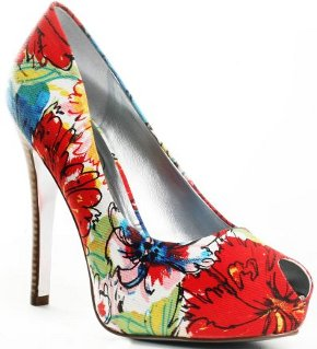 designer floral pumps