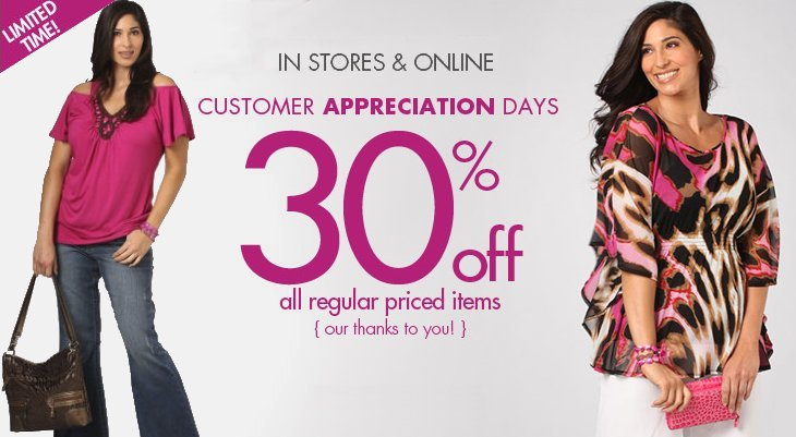 fashion bug customer appreciation sale