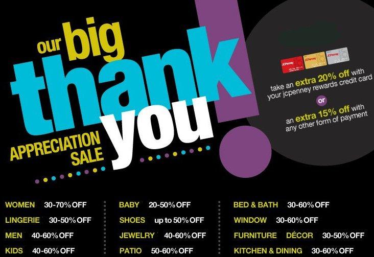 jc penney thank you appreciation sale