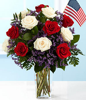 one dozen long stemmed patriotic roses
