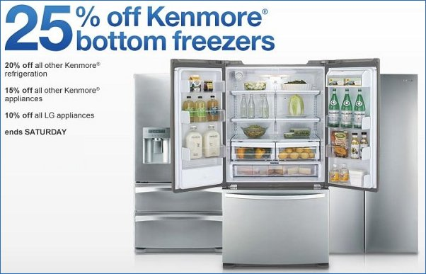 sears savings on kenmore refrigerators