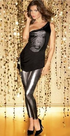 Metallic Appliqué Tunic Top and High Shine Stretch Legging