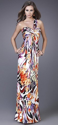 One Shoulder Prom Gown