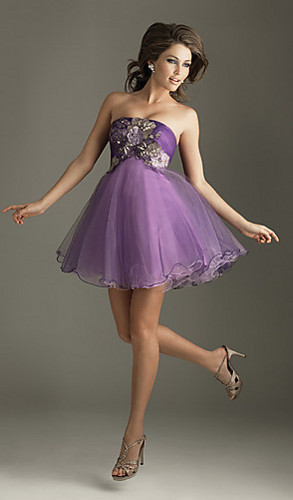 Short Strapless Tulle Dress