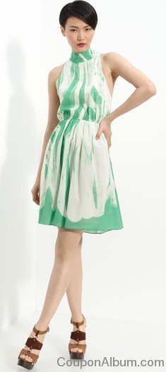 alice-olivia cutout back stretch silk dress