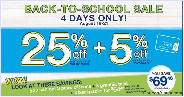 childrens place back to school sale