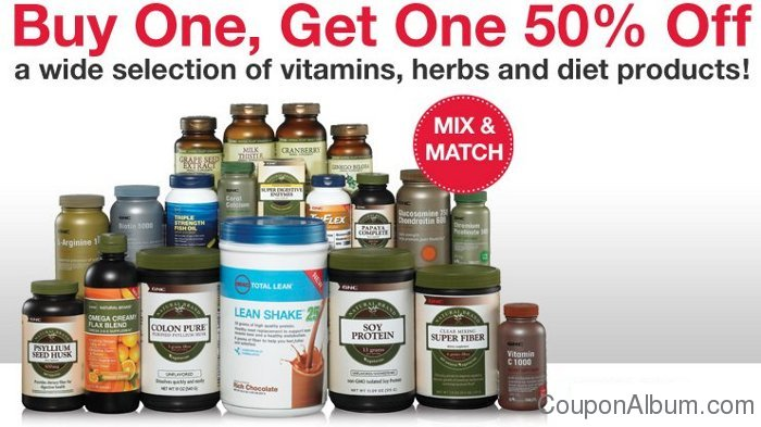 GNC Coupon: BOGO 50% Off Vitamins, Herbs, Diet Products