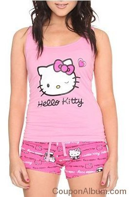 hello kitty pink heart sleep set