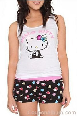 hello kitty white rainbow sleep set