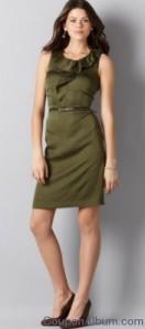 sleeveless ruffle front dress