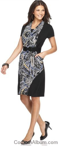 Alfani Short Sleeve Printed Belted Faux Wrap Dress