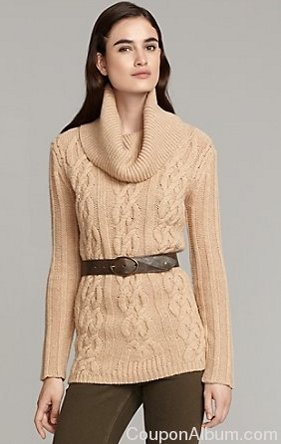 Cableknit Long Sweater With Roll Neck