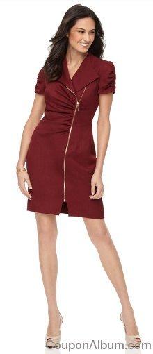 Ellen Tracy Short Sleeve Asymmetrical Zip Front