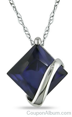 Lab-Created Sapphire Overlay Pendant in 10K White Gold