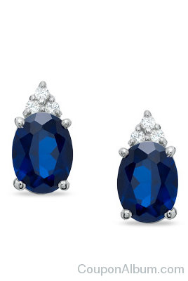 Oval Lab-Created Sapphire and Diamond Top Stud Earrings