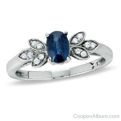 Oval Sapphire Ring in Sterling Silver with Diamond Accents