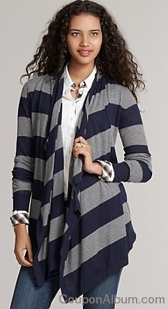 Rugby Striped Drape Front Cardigan